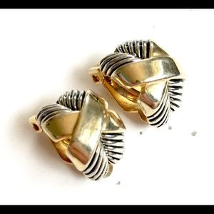 X Mixed Metal Hoop Earrings Clip On